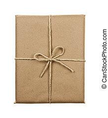 gebunden, braunes papier, schnur, geschenk