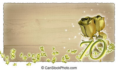 geburstag, begriff, mit, goldenes, rosen, und, stern, partikeln, -, 70th
