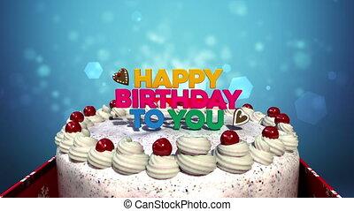 geburstag, cake., 'happy, you', typo
