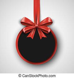 geburstag, design, template., einladung, banner, mit, roter bogen, ribbon., feiertag, beförderung, poster., grafik, abbildung, geschenk, begriff