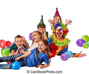 geburstag, kind, clown, spielende , mit, children., kind, kuchen, celebratory.