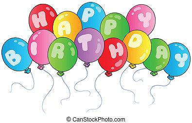 geburstag, luftballone, glücklich