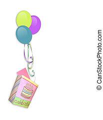 geburstag, umrandungen, luftballone
