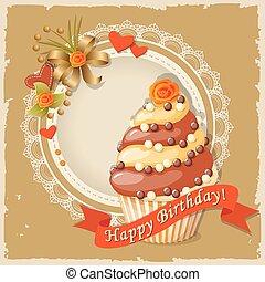 geburstagskarte, mit, kuchen, und, geschenkband