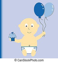 geburtstag junge, mit, luftballone