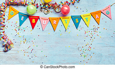 Geburtstag or Birthday party background with streamers and...