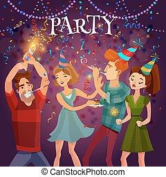 geburtstagparty, feier, festlicher, hintergrund, plakat