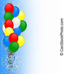 geburtstagseinladung, luftballone, umrandungen