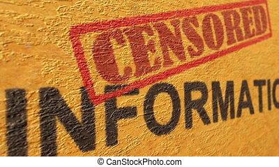 gecensureerde, informatie, grunge, concept