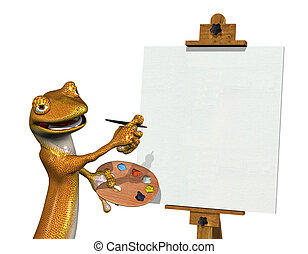 Gecko Artist with Blank Canvas 2
