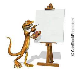 Gecko Artist with Blank Canvas
