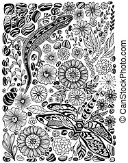 Gecko, dragonfly, flowers and pebbles set