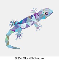 gecko, estilo, triángulo, bajo, polígono
