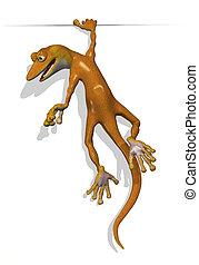 Gecko Holding on to an Edge - 3D render of a cartoon gecko...