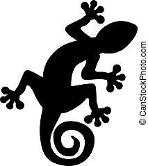 gecko, lagarto, silueta