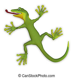Gecko lizard 3d - isolated on the white background