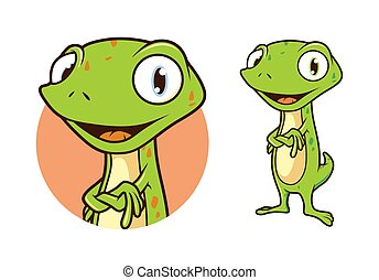 Gecko, Lizard, Chameleon Character Illustration Vector in Cartoon Style