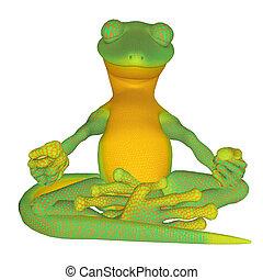 Gecko meditating - isolated on the white background