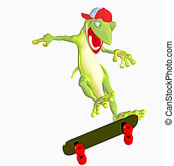 gecko on a skateboard