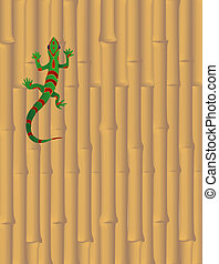 Gecko on Bamboo Wall