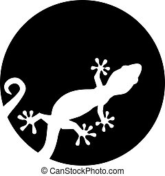 Gecko silhouette in front of moon