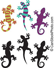 Gecko silhouettes and three different colored arrangements