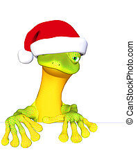 Gecko the Santa Claus - isolated on the white background