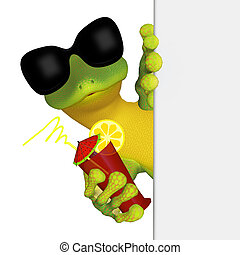 Gecko with a blank board - isolated on the white background