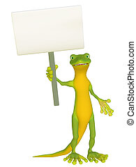 Geckowith a blank sign - isolated on the white background