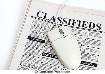 geclassificeerd, muis, advertentie, computer