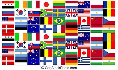 gecombineerd, wereld, vlaggen