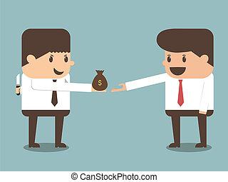 gecompliceerd, zakenman, het bezorgen geld