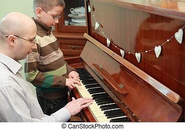 geconcentreerd, piano, vader, zoon, gezichten, spelend, bril