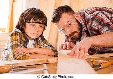 geconcentreerd, workshop, zijn, carpentry., meest,...