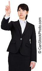 geconcentreerde, businesswoman, wijzende