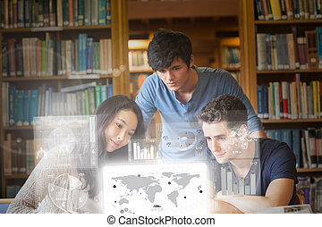 geconcentreerde, digita, werkende , scholieren