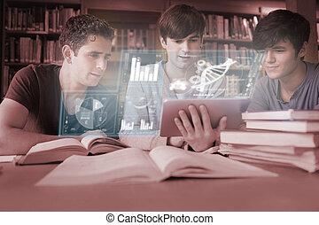 geconcentreerde, jonge mensen, studerend , geneeskunde, samen, met, futuristisch, interface, in, universiteit, bibliotheek