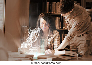 geconcentreerde, scholieren, universiteit, analyzing