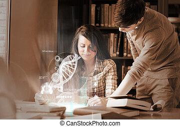 geconcentreerde, universiteitsstudenten, analyzing