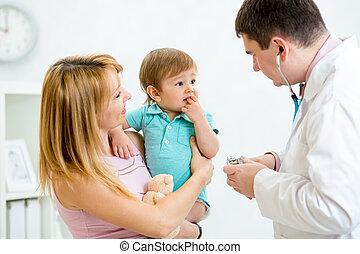 gecontroleerde, arts, wezen, bang, onzeker, baby, of