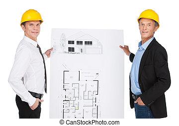 gecreëerde, ontwikkelde, werkmannen , bouwterrein, illustratie, twee, orlder, plan., het tonen, ingenieurs