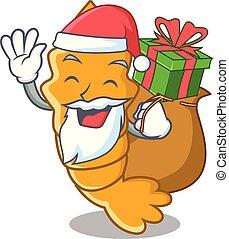 gedämpft, geschenk, garnele, roh, santa, frisch, karikatur, maskottchen