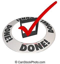 gedaan, controleer teken, in, checkbox, missie, werk,...