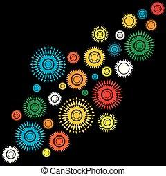 gedaantes, abstract, achtergrond, kleurrijke, ronde