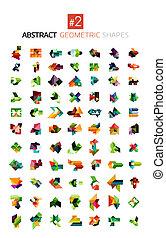 gedaantes, abstract, set, geometrisch, kleurrijke