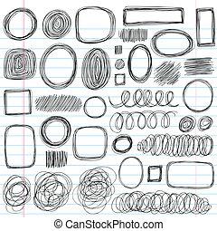 gedaantes, doodles, sketchy, set, krabbelen