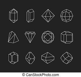 gedaantes, logo, lijn, set, geometrisch