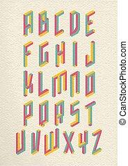 gedaantes, onmogelijk, lettertype, retro, 3d