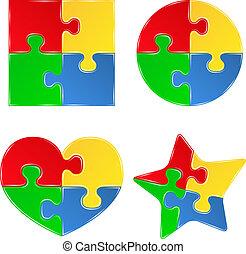 gedaantes, raadsel, jigsaw, vector, stukken