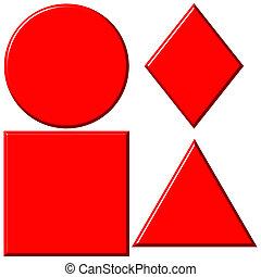 gedaantes, rood, 3d